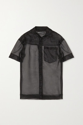 House of Holland Embroidered Organza Shirt - Black