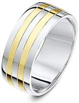 Theia Two Tone 9ct Yellow Gold and Sterling Silver Multi Stripe 8mm Wedding Ring - Size W