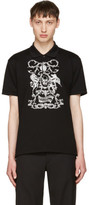 Alexander McQueen Black Embroidered Classic Piqué Polo