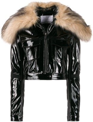 Paco Rabanne Faux-Fur Collar Cropped Jacket