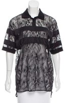 Givenchy Guipure Lace Satin-Paneled Polo