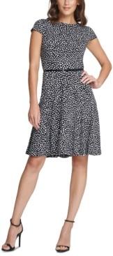 Jessica Howard Petite Polka-Dot Belted Fit & Flare Dress