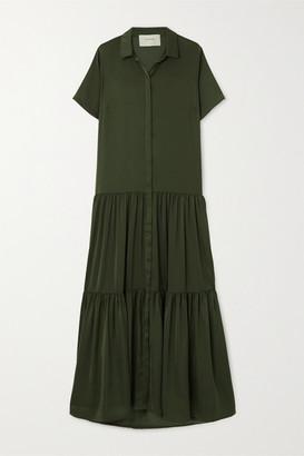 MUNTHE Eillish Tiered Washed-satin Maxi Dress - Army green