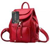Donalworld Woen PU Leather Drawstring Backpack Girls Flap Bag School Bookbag