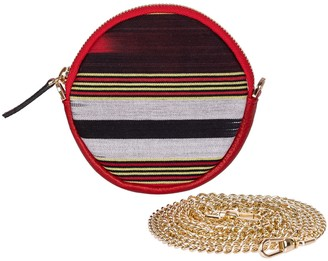 Cona Red Leather Round Purse With Handloomed Peshtemal