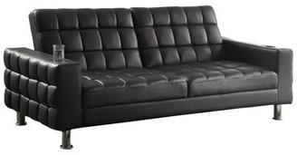 """Wildon Home 77"""" Wide Faux Leather Square Arm Convertible Sofa"""