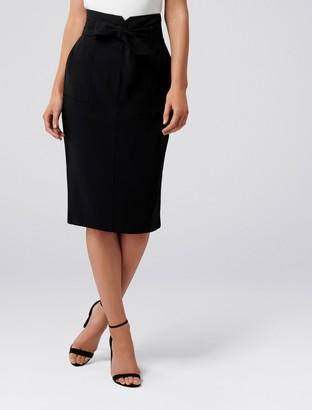 Forever New Olivia Satin-Crepe Pencil Skirt - Black - 4