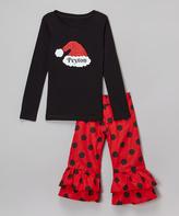 Beary Basics Black Personalized Santa Tee Set - Infant Toddler & Girls