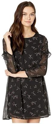 BB Dakota Swingin Party Florally Known Printed Lurex Chiffon A-Line Dress (Black) Women's Dress
