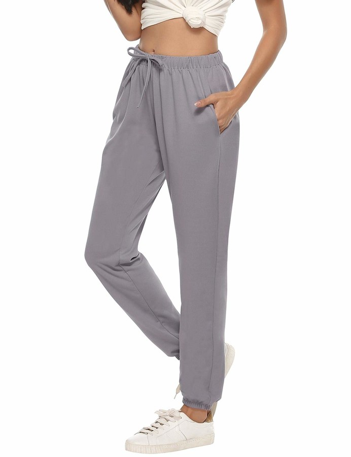 Abollria Womens Cotton Pajama Pants Stretch Lounge Trousers Pure Color Full Length Pajama Bottoms with Drawstring Pockets Casual Pants Gray