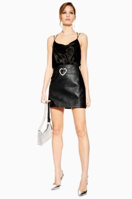 Topshop Womens Heart Buckle Faux Leather Pu Mini Skirt - Black