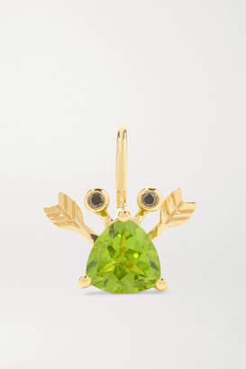 Yvonne Léon 18-karat Gold, Peridot And Blackened Diamond Earring - one size
