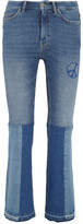 MiH Jeans Angie Patchwork Embroidered Mid-rise Flared Jeans - Mid denim