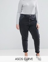 Asos FARLEIGH High Waist Slim Mom Jeans In Washed Black