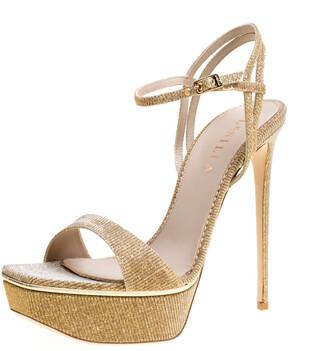 Le Silla Metallic Gold Lame Glitter Fabric Galaxy Platform Sandals Size 39