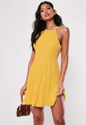 Missguided Mustard Crinkle Square Neck Skater Dress