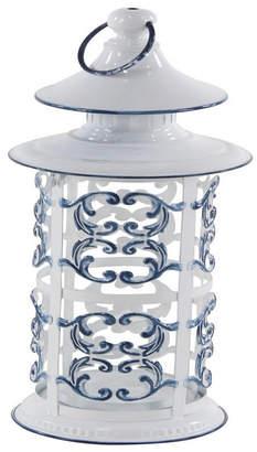 Rosemary Lane Rustic Iron and Glass Ornate Candle Lantern