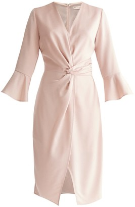 Paisie Satin Dress With Twisted Waist & Flared Cuffs In Blush