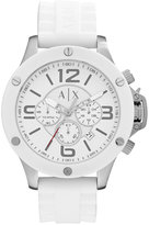 Armani Exchange A|X Men's Chronograph White Silicone Strap Watch 48mm AX1525
