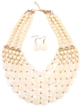 Riah Fashion Beaded Necklace Earring Set