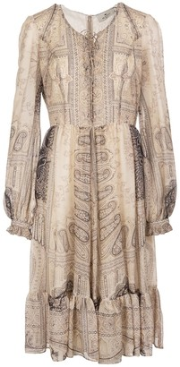 Etro Beige Flared Midi Dress With Paisley Print