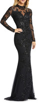 Mac Duggal Sequin Mock-Neck Long-Sleeve 4-Way Stretch Gown