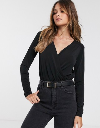 Y.A.S wrap body with long sleeves in black