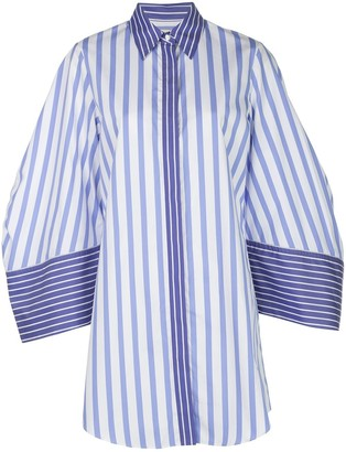 Sara Battaglia Striped Oversized Shirt Dress