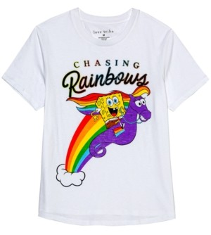 Nickelodeon Juniors' Spongebob Chasing Rainbows Graphic T-Shirt