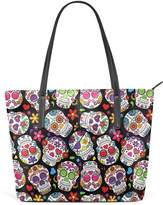 Sunlome Dead Sugar Skull Flower Double Print Tote Shoulder bag Womens Handbag PU Leather Purse