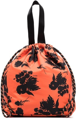 Ganni Floral Print Drawstring Tote Bag