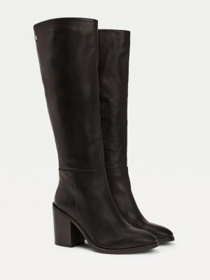 Tommy Hilfiger Shaded Leather Long Block Heel Boots