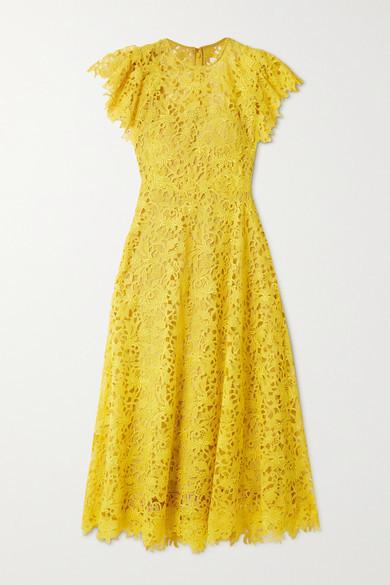 Lela Rose Wildflower Guipure Lace Midi Dress - Yellow