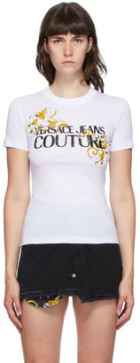 Versace Jeans Couture White Baroque Accent T-Shirt