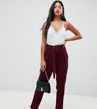 Y.A.S Petite Belted High Waisted Trouser-Red