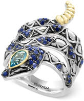 Effy Balissima Sapphire (7/8 ct. t.w.) and Blue Topaz (1/2 ct. t.w.) Snake Ring in Sterling Silver and 18k Gold