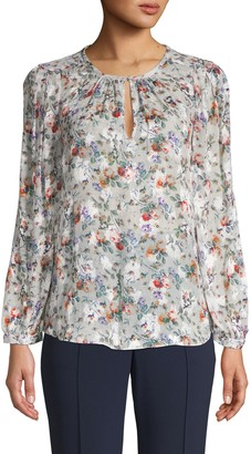 Rebecca Taylor Ruby Floral Silk-Blend Top