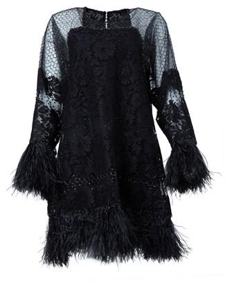 Valentino Black Feather Embellished Dress