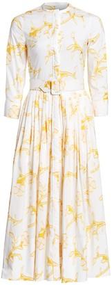 Oscar de la Renta Floral Belted Midi Shirtdress