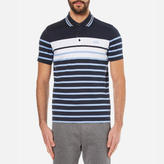 BOSS GREEN Men's Paule 3 Striped Polo Shirt Navy