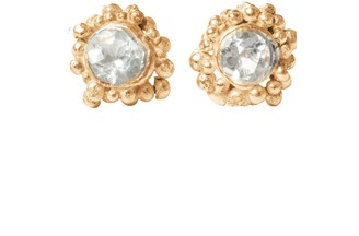 Lily Flo Jewellery White Sapphire on 14k Yellow Gold Stud Earrings