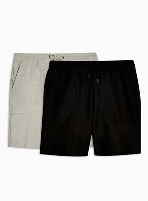 Topman 2 Pack Black and Grey Twill Jersey Shorts Multipack*