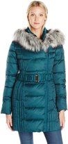 Betsey Johnson Women's Asymmetrical Belted Puffer with Faux Fur Trim Hood
