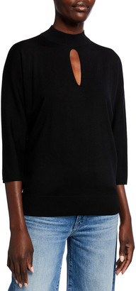 Lafayette 148 New York Fine Gauge Merino Wool Keyhole Dolman Sweater