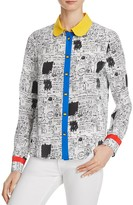 Alice + Olivia Gary Printed Silk Shirt