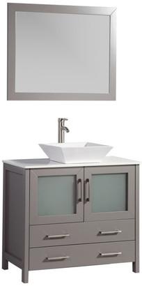 "Vanity Art Vanity Set w/ Vessel Sink, Gray, 36"", Led Sensor-Switch Mir"