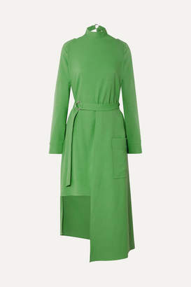 Tibi Convertible Belted Stretch-jersey Midi Dress - Green