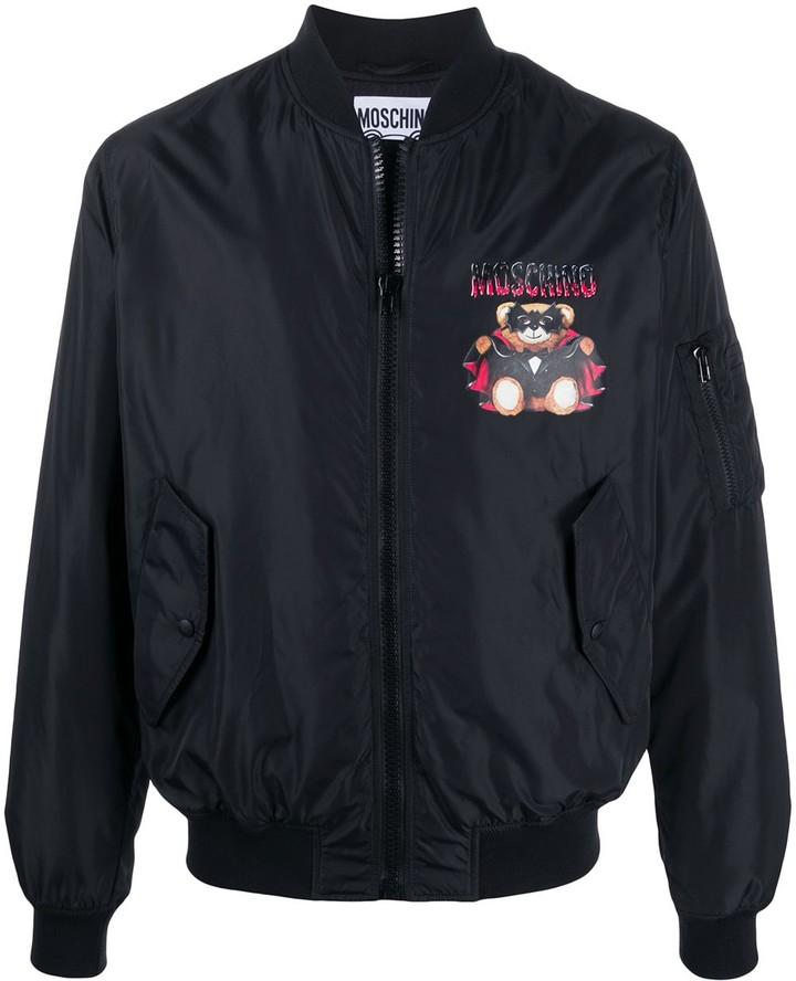Moschino Bat Teddy Bear print bomber jacket
