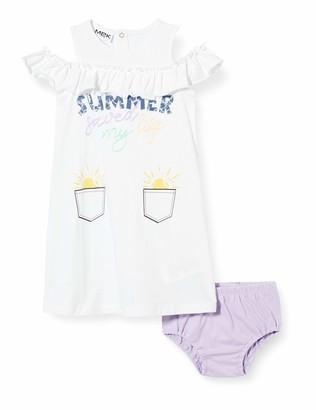 MEK Baby Girls' Abito Jersey Motivospalle E Couloutte Dress