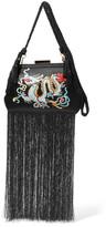 Edie Parker Lauren Fringed Embroidered Satin Clutch - Black